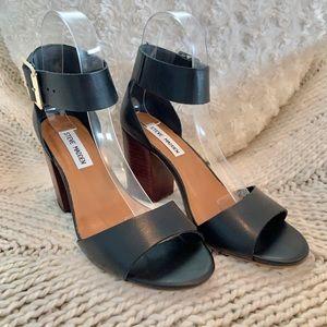 Black Leather Steve Madden Ankle Strap Sandal